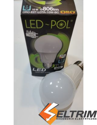 ŻARÓWKA LED E27 ORO-LOTA B. CIEPŁA 10W LED-POL $